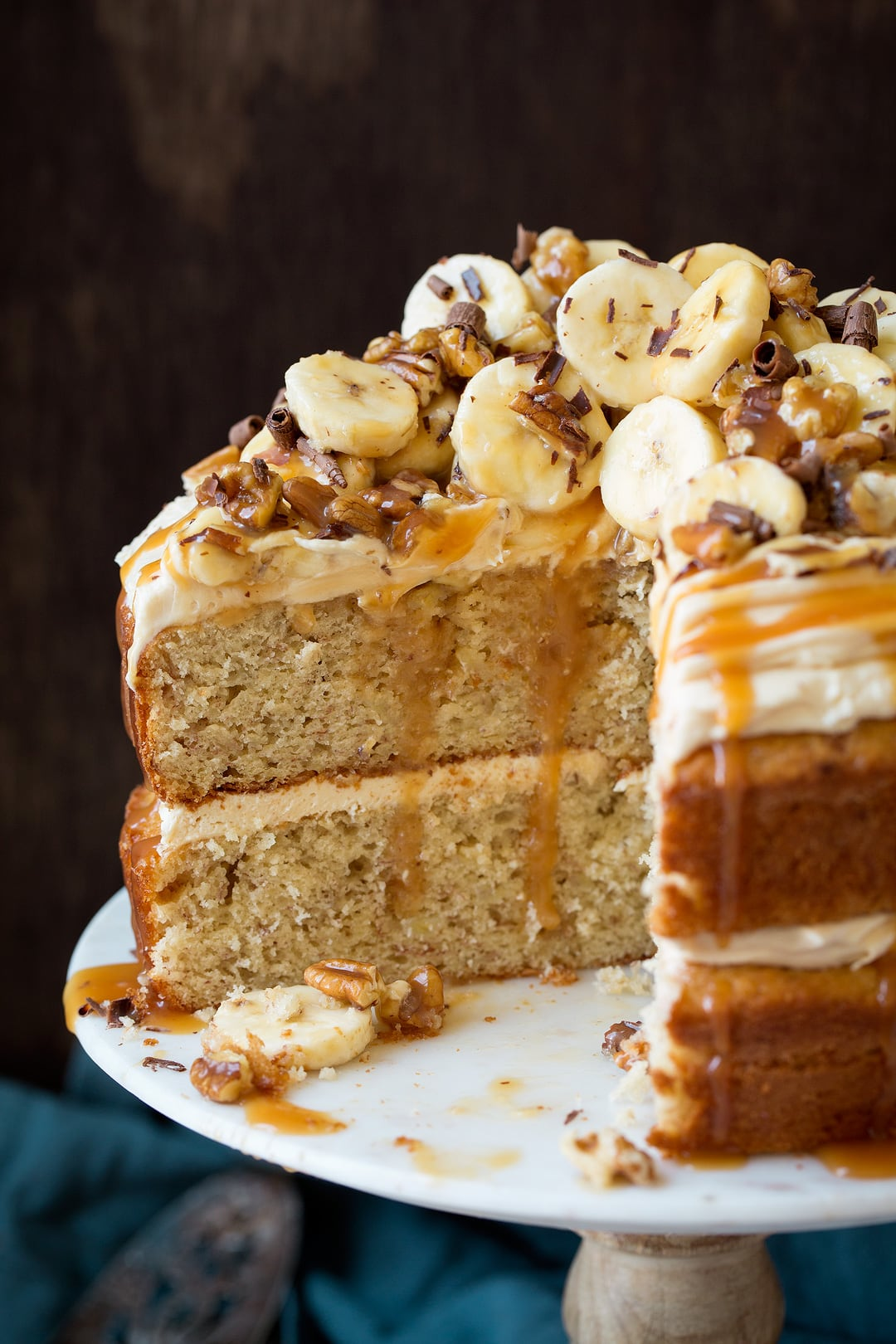 Banana Cake With Salted Caramel Frosting Cooking Classy