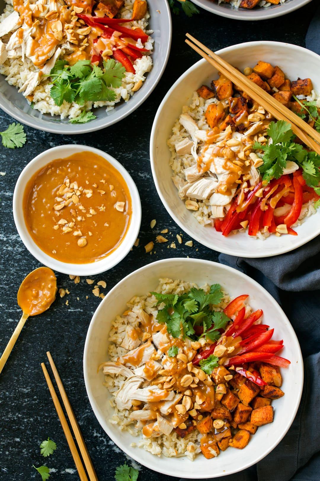 Chicken Veggie Brown Rice Bowls with Peanut Sauce