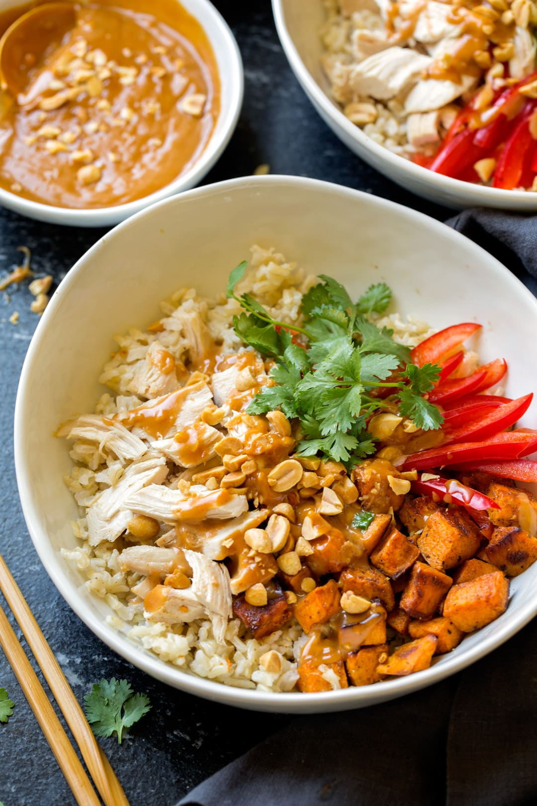 Chicken Bowls Veggies Brown Rice and Peanut Sauce