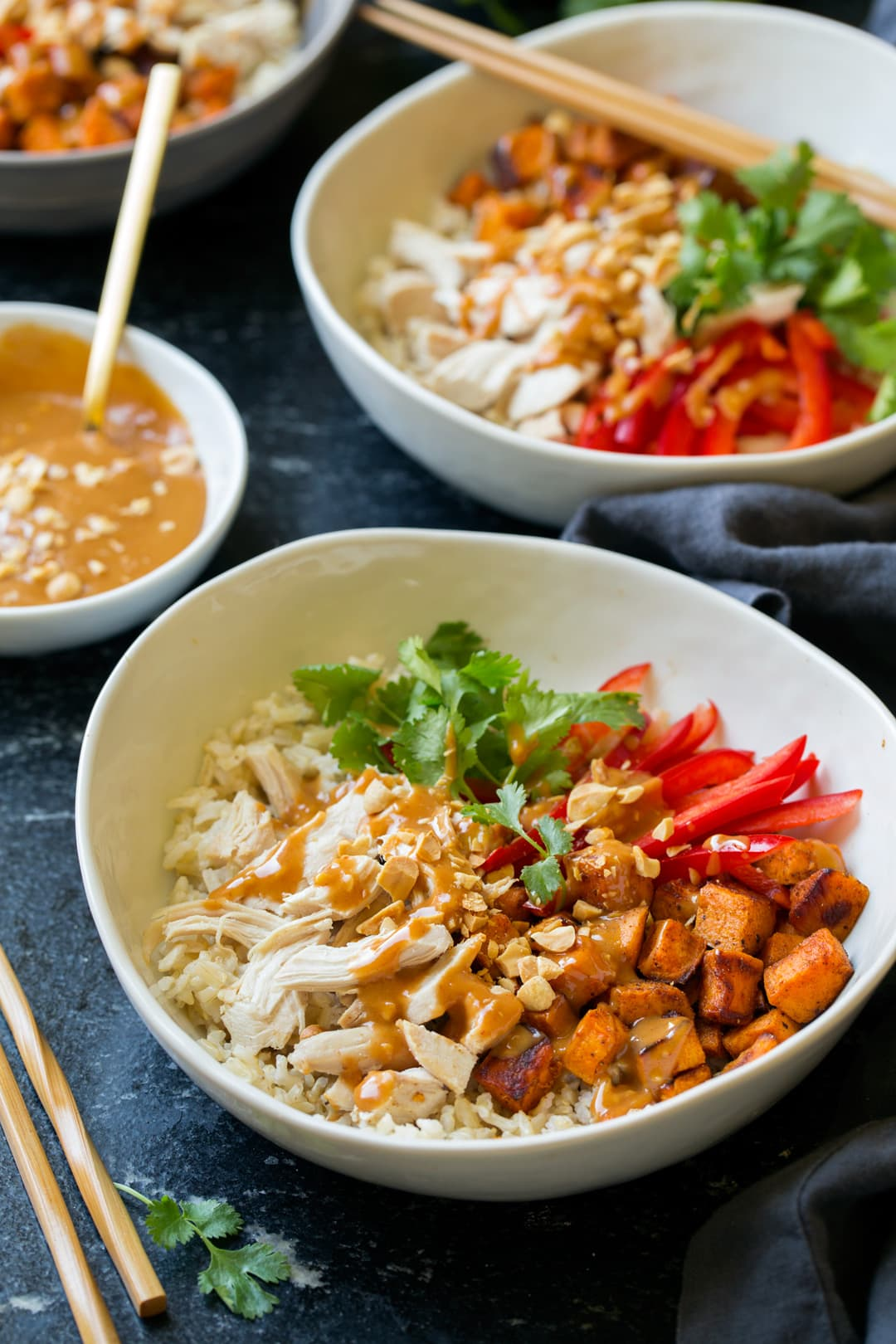 Chicken Veggie Brown Rice Bowls with Peanut Sauce