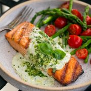 Grilled Salmon with Creamy Pesto