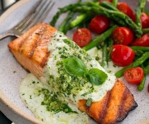 Grilled Salmon with Creamy Pesto