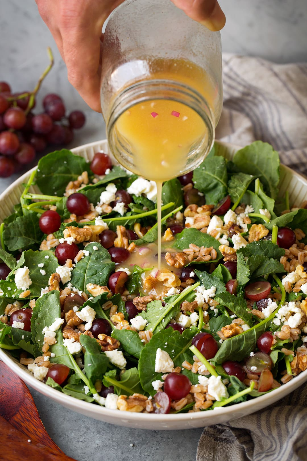 Farro and Kale Salad Recipe with Grapes Feta and White Wine Vinaigrette