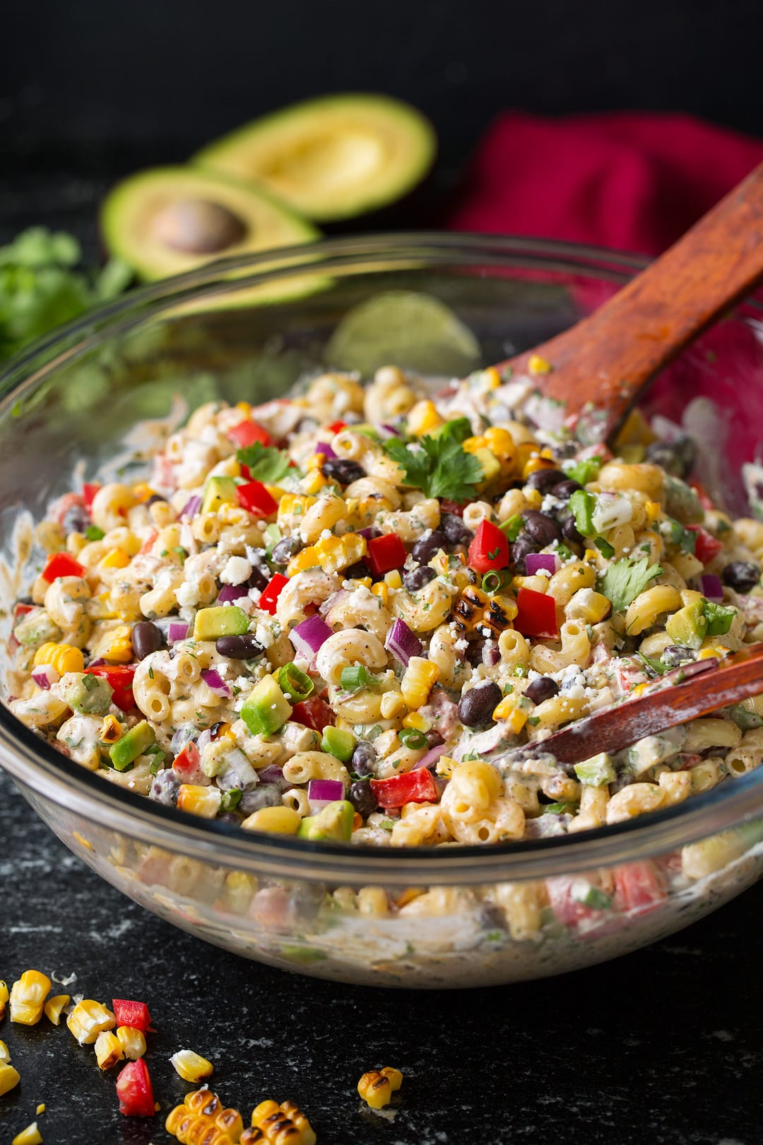 Mexican pasta Salad in large glass bowl