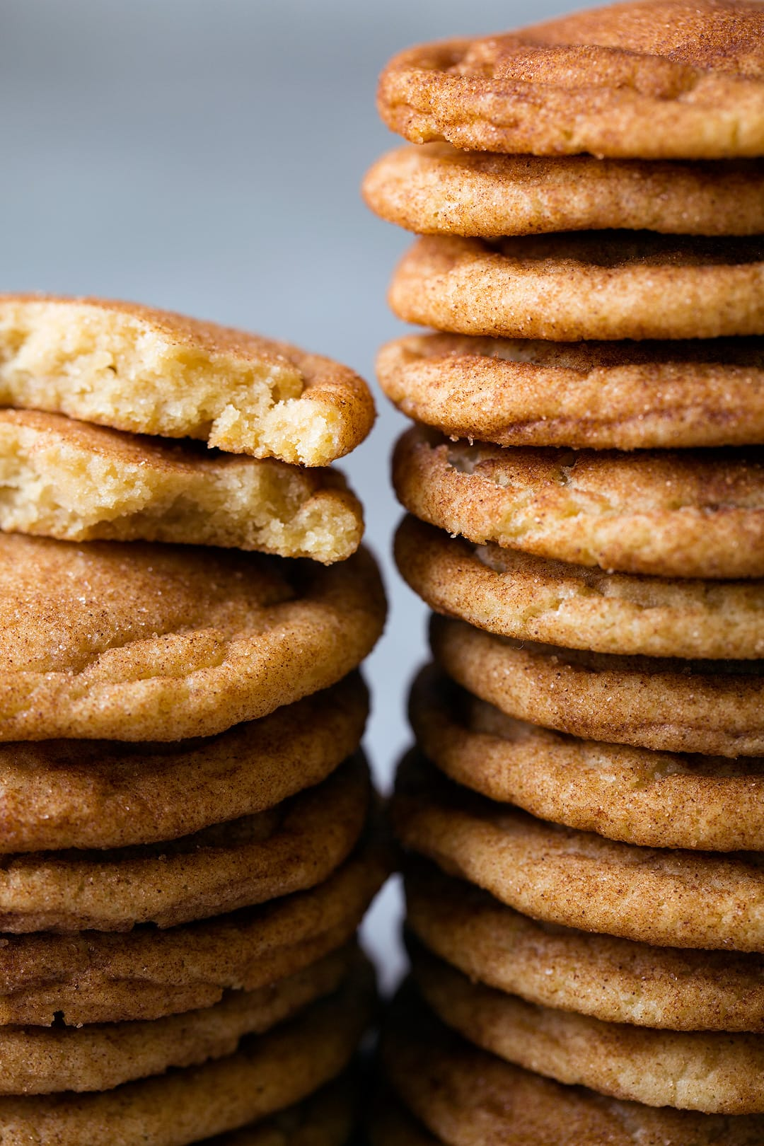 Close up image of two stacks of snickerdoodles.