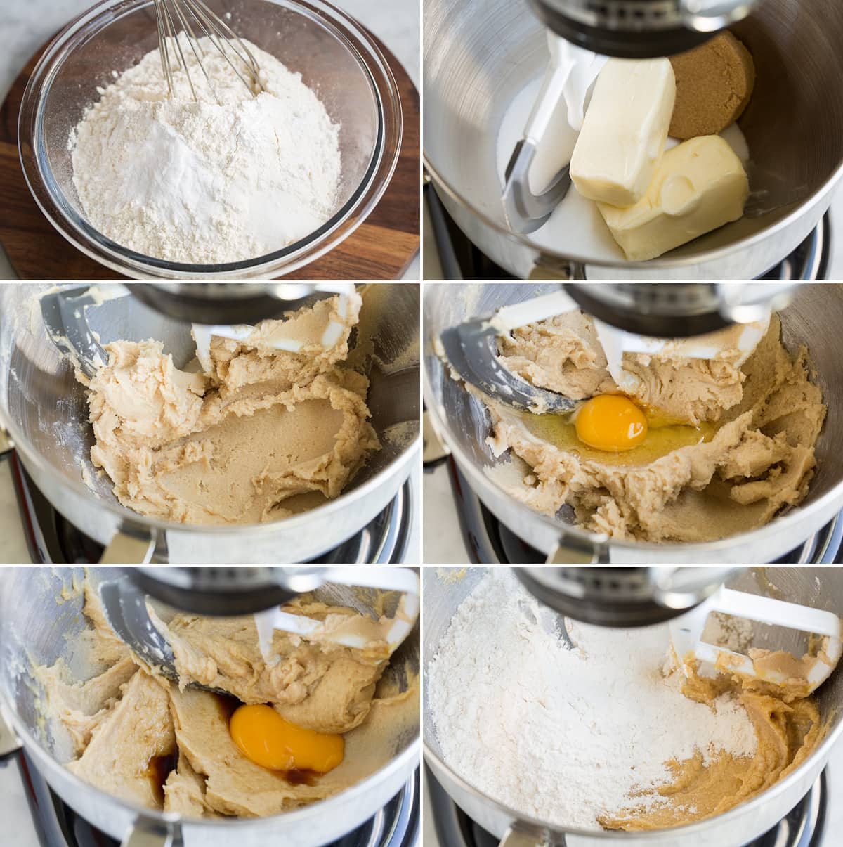 Collage of six images showing first six steps to preparing homemade snickerdoodle cookie dough. Shows whisking dry ingredients in glass bowl. Then mixing butter sugars in stand mixer, and blending in egg and yolk. And last mixing in flour mixture.
