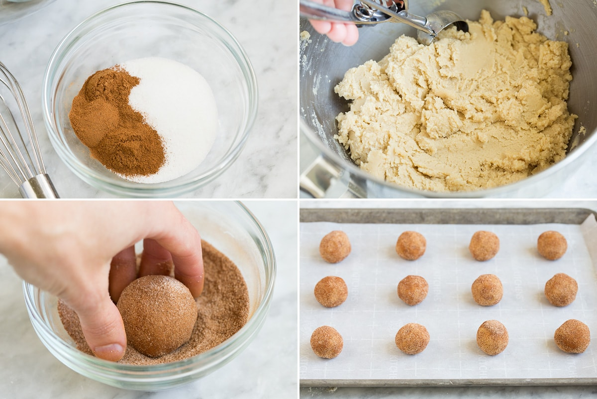 Collage of four images showing remaining four steps of preparing snickerdoodles. Shows mixing cinnamon sugar in a bowl, scooping cookie dough out of mixer bowl, and rolling cookie dough ball in cinnamon sugar. Last it shows cookie dough balls on baking sheet before baking.