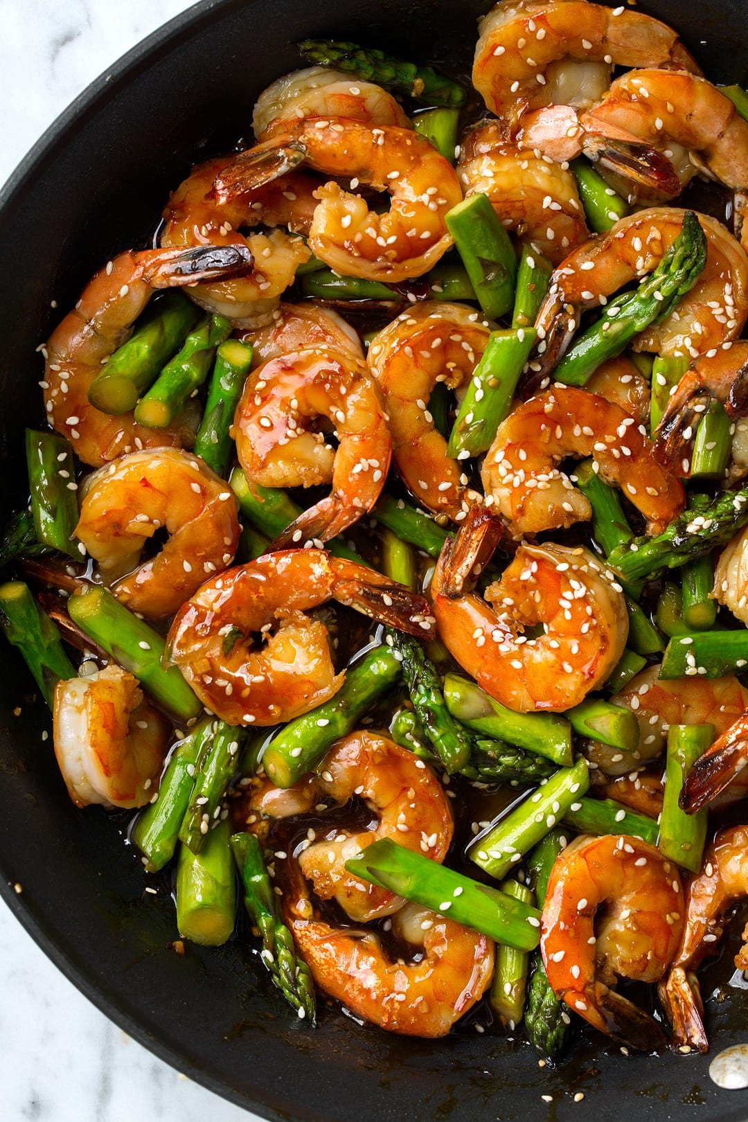 Teriyaki Shrimp and Asparagus in a skillet