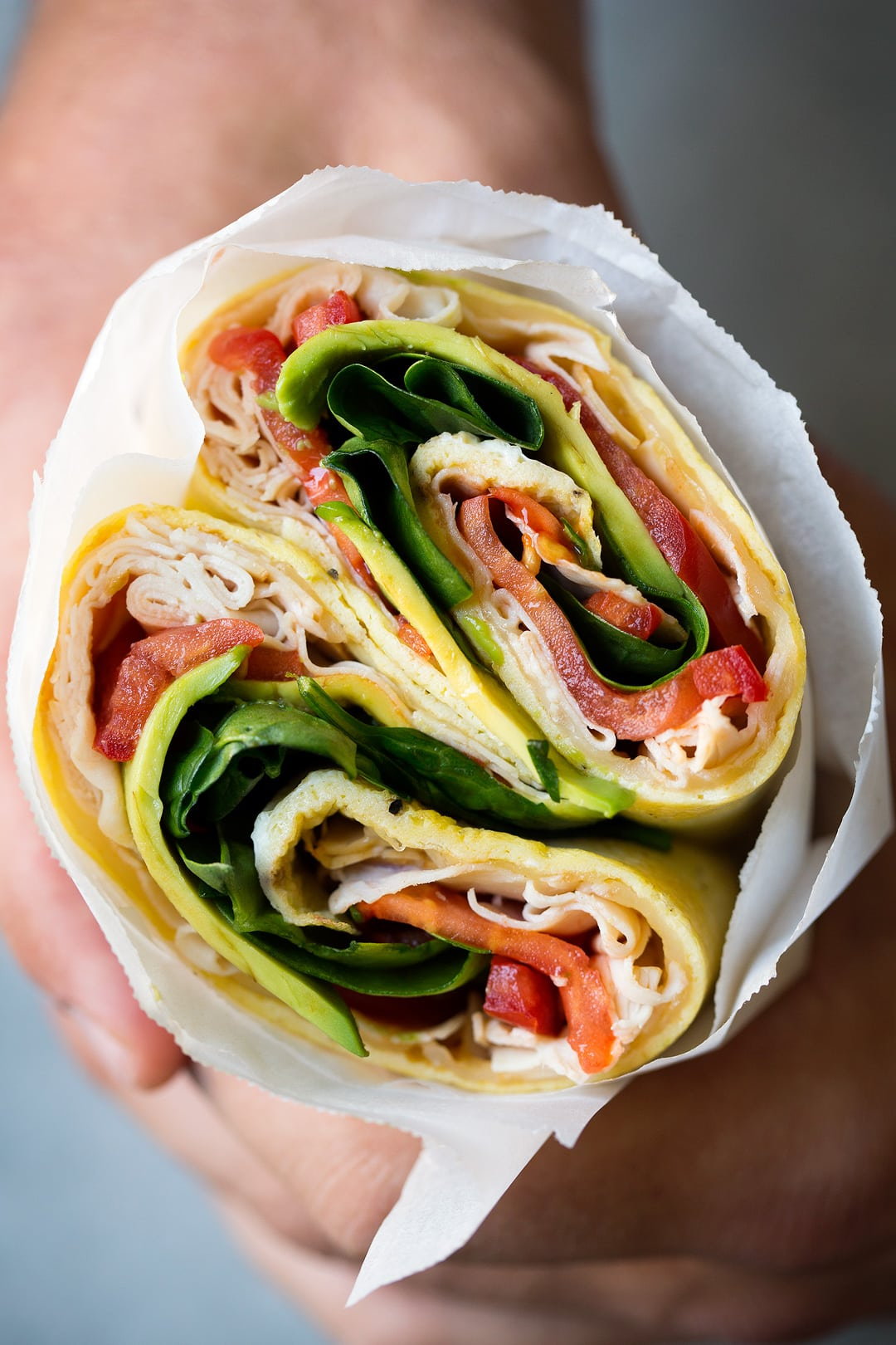 Egg Wrap Recipe with turkey, avocado, spinach, tomatoes and swiss