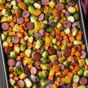Autumn Sausage Veggie and Apple Sheet Pan Dinner