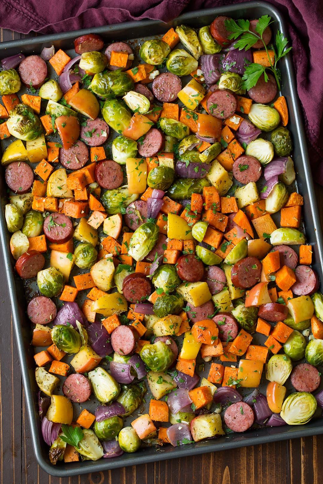 Autumn Sausage Veggie And Apple Sheet Pan Dinner Cooking