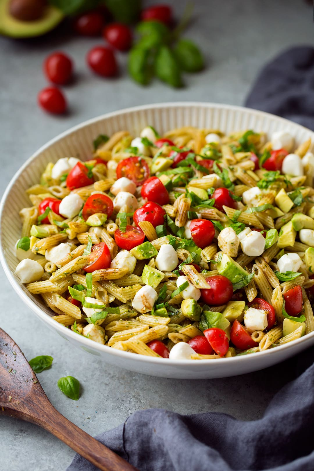 italian pasta salad in white serving bowl