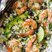 Cilantro Lime Shrimp and Cauliflower Rice Foil Packs