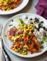 Grilled Cajun Chicken with Avocado Corn Salsa