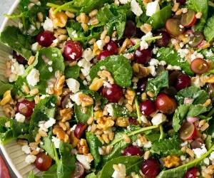 Kale Grape and Farro Salad with Feta