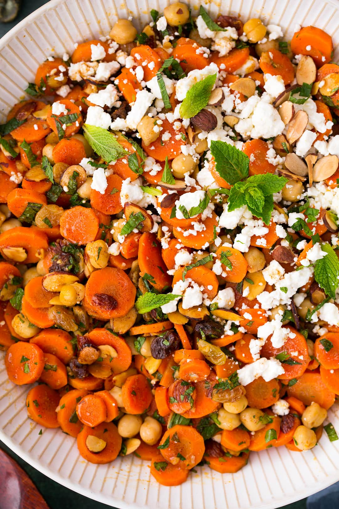 Moroccan Carrot Chick Pea Salad with Feta and Almonds