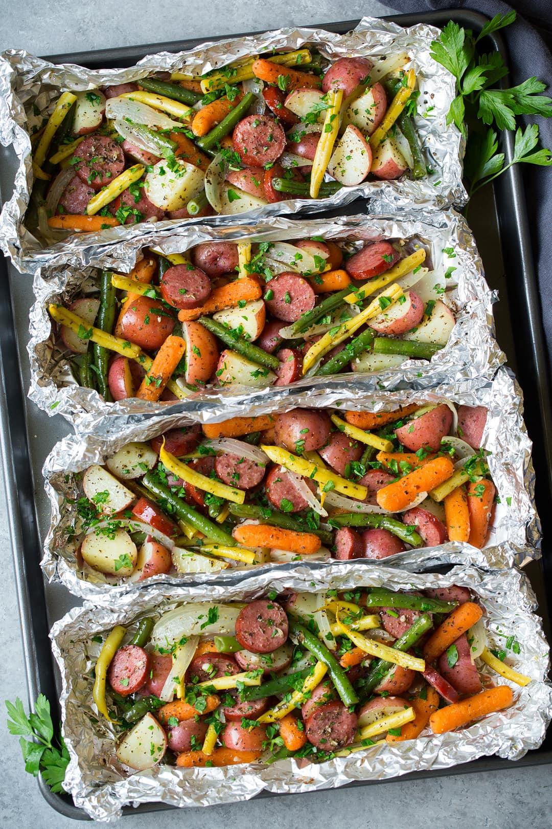 Sausage and Veggie Foil Packs