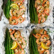 Shrimp and Asparagus Foil Packets with Garlic Lemon Butter Sauce