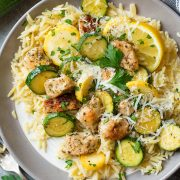 Skillet Lemon Parmesan Chicken Zucchini and Squash