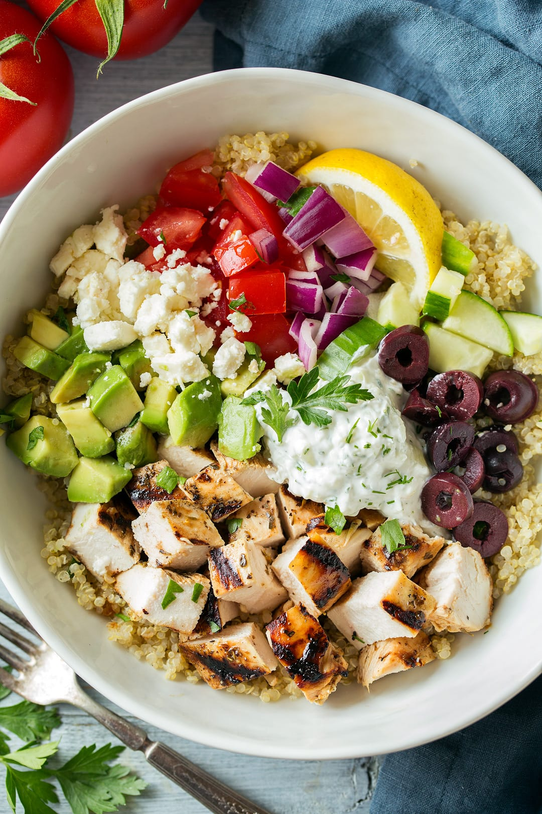 Grilled Greek Chicken Quinoa Bowl