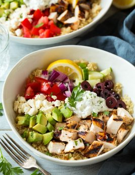 Grilled Greek Chicken Quinoa Bowls