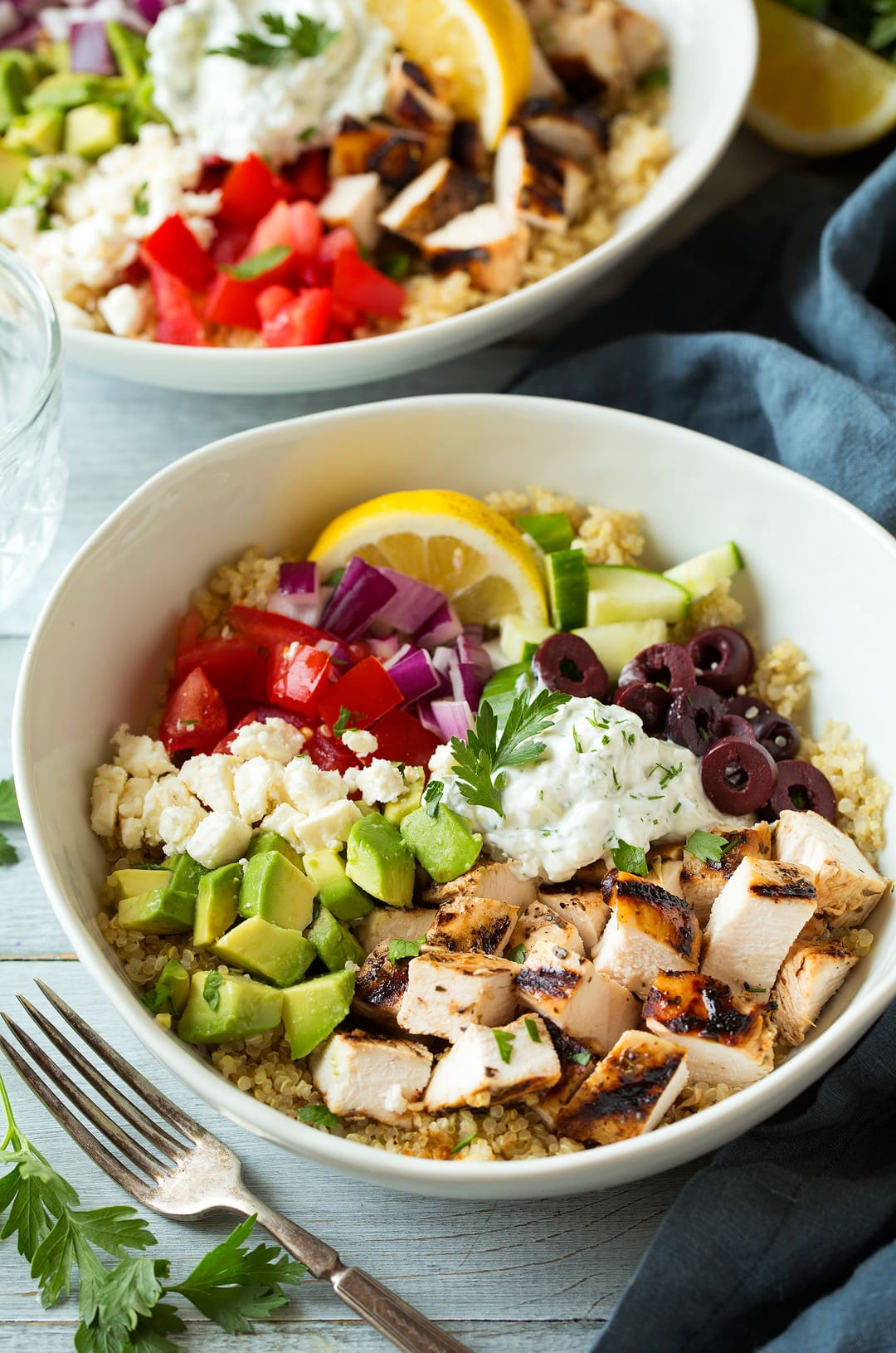 Grilled Greek Chicken Quinoa Bowls