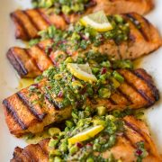 Grilled Salmon with Avocado Chimichurri