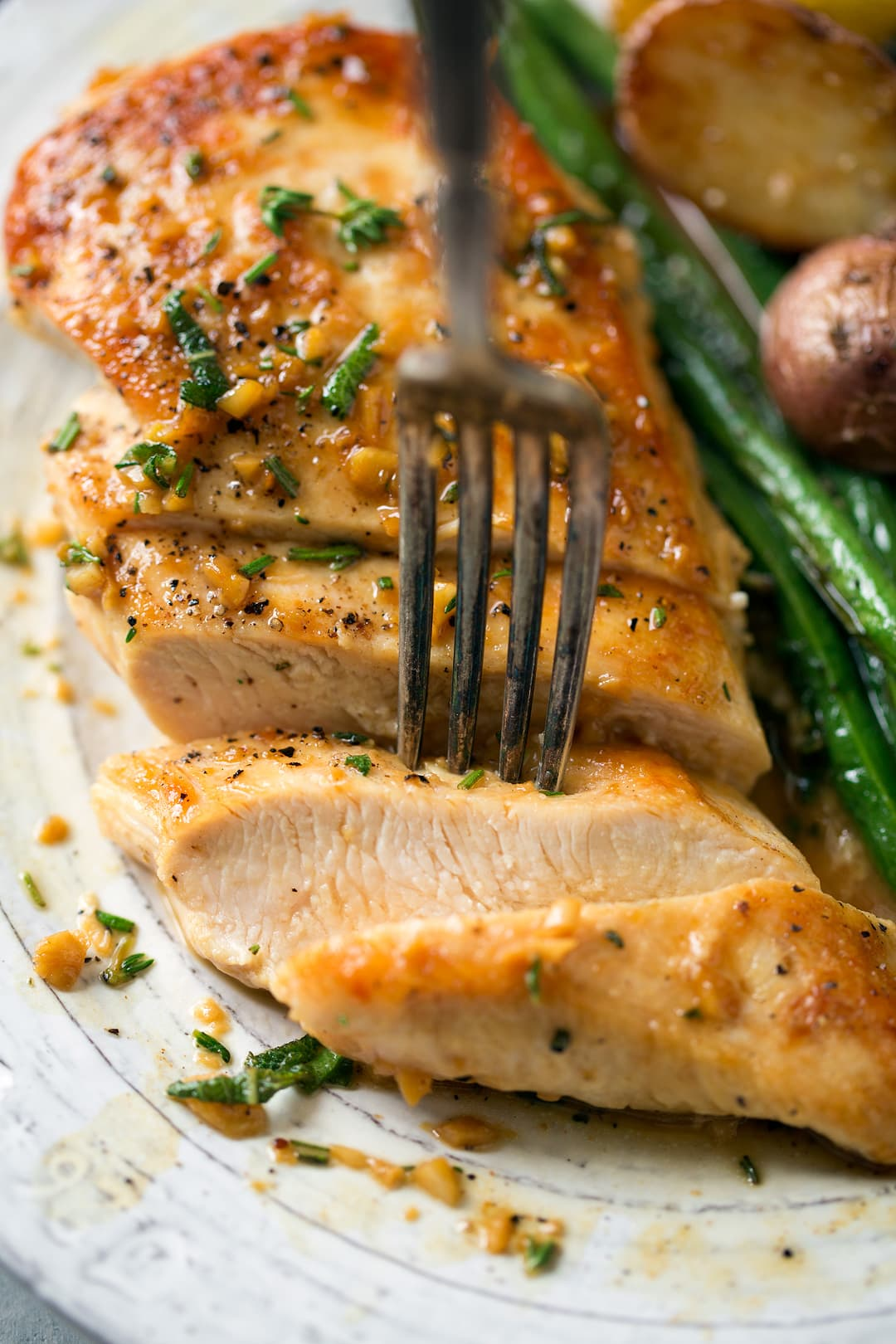 Skillet Chicken with Garlic Herb Butter Sauce