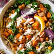 Sweet Potato Chick Pea Buddha Bowls with Ginger Tahini Sauce