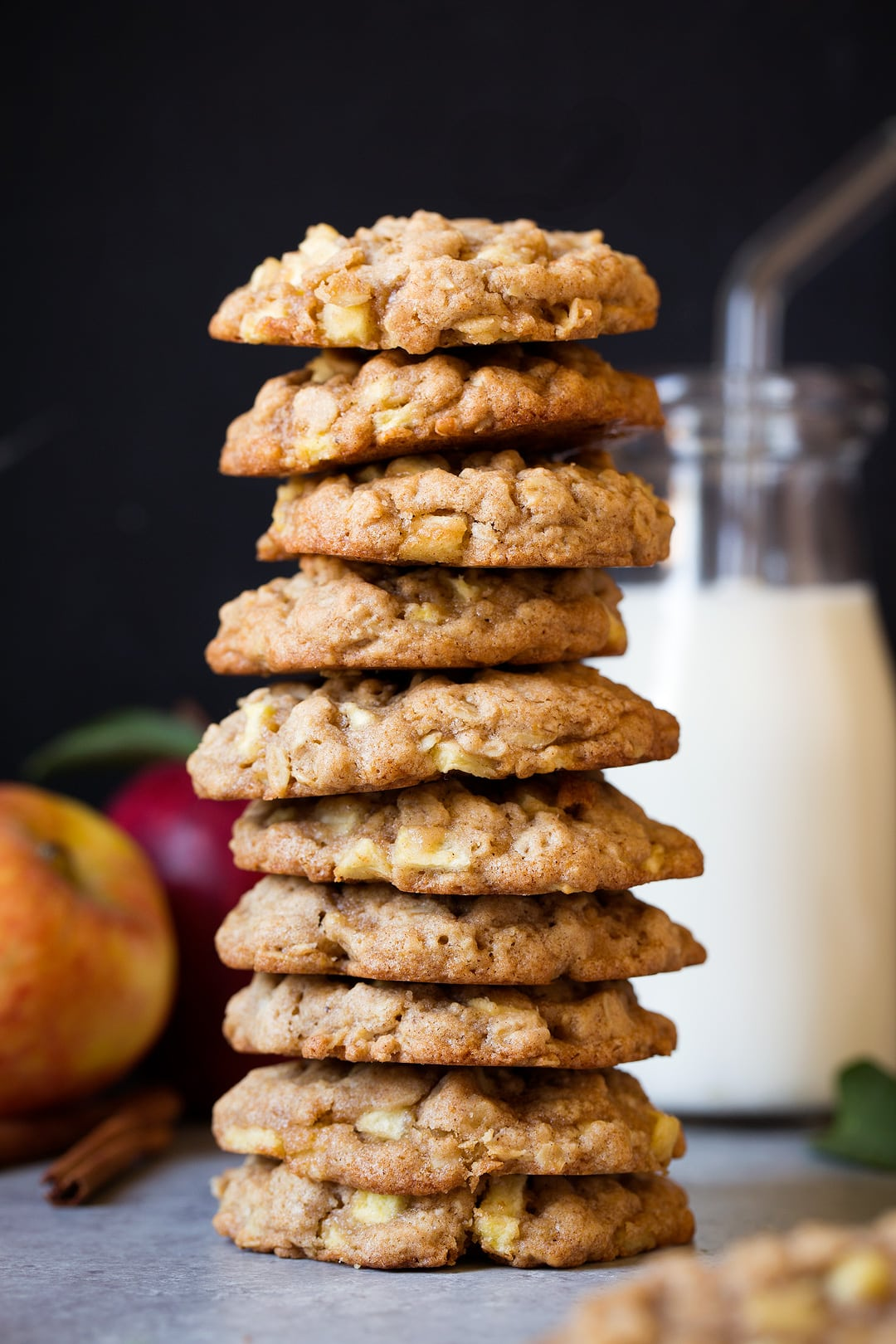 Tall stack of Apple Cinnamon Oatmeal Cookies