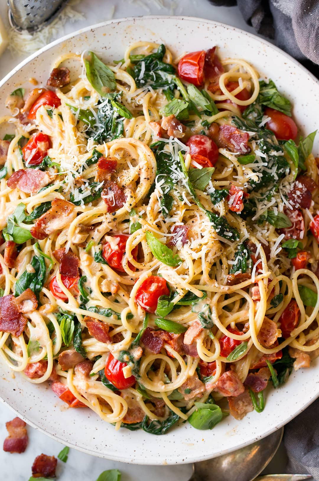 Bacon Spinach and Tomato Spaghetti