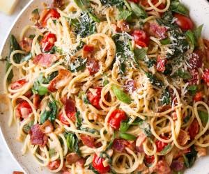 Bacon Spinach and Tomato Spaghetti