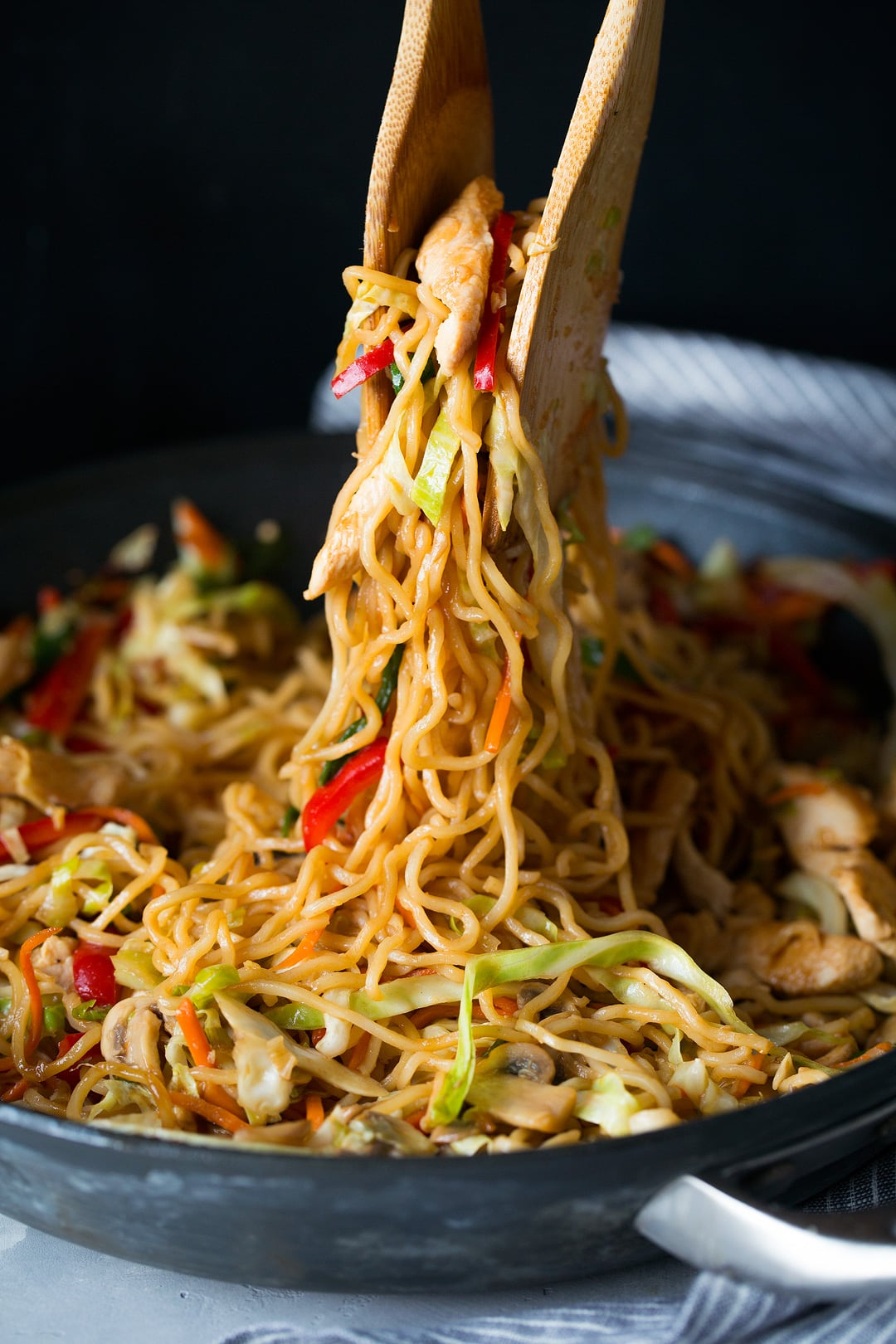 Yakisoba noodles with chicken veggies and Asian sauce.
