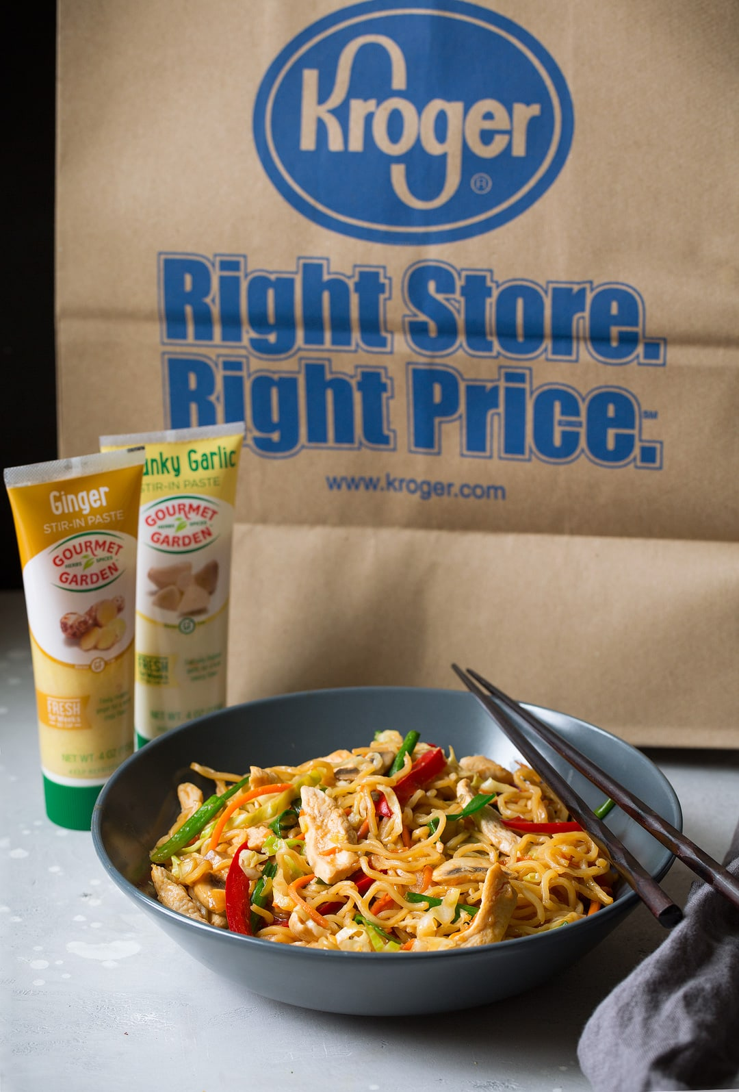 Chicken Yakisoba with Kroger bag