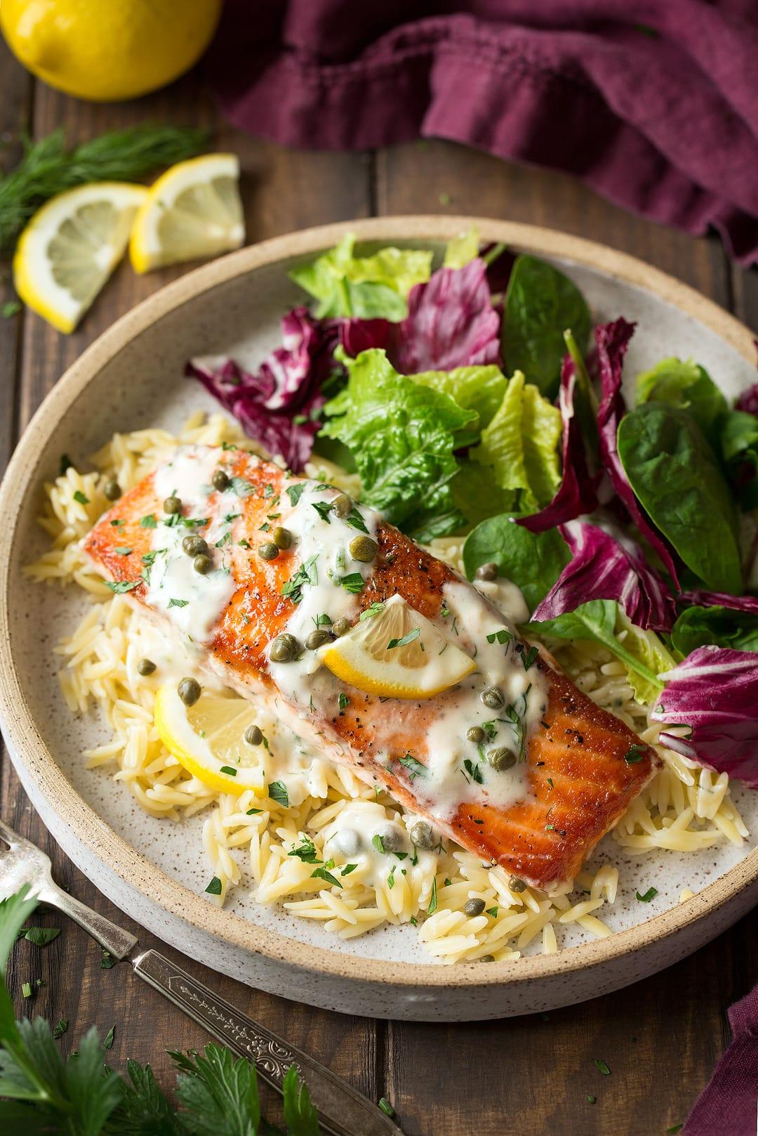 Creamy Salmon Piccata Cooking Classy