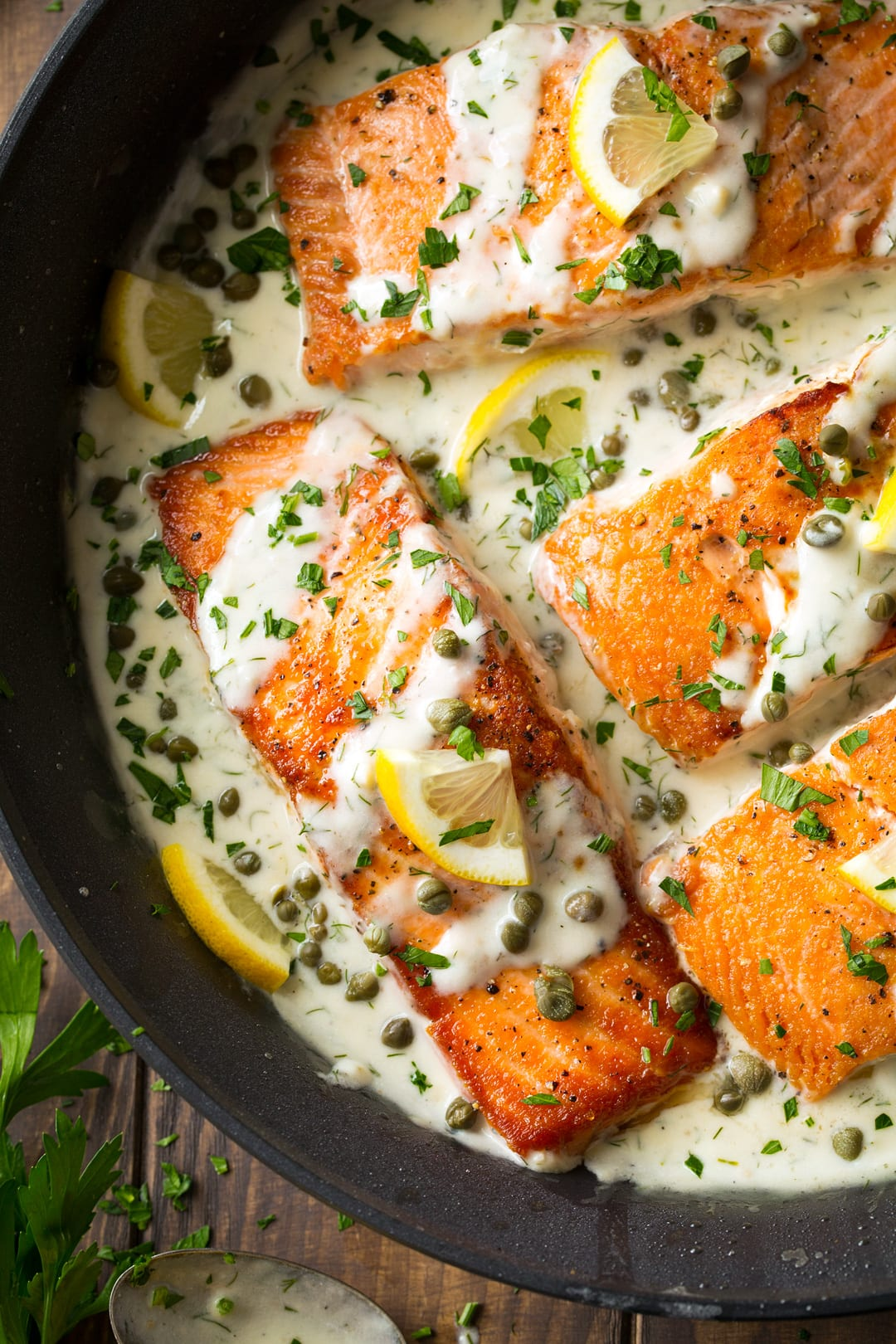 Creamy Salmon Piccata shown here up close.