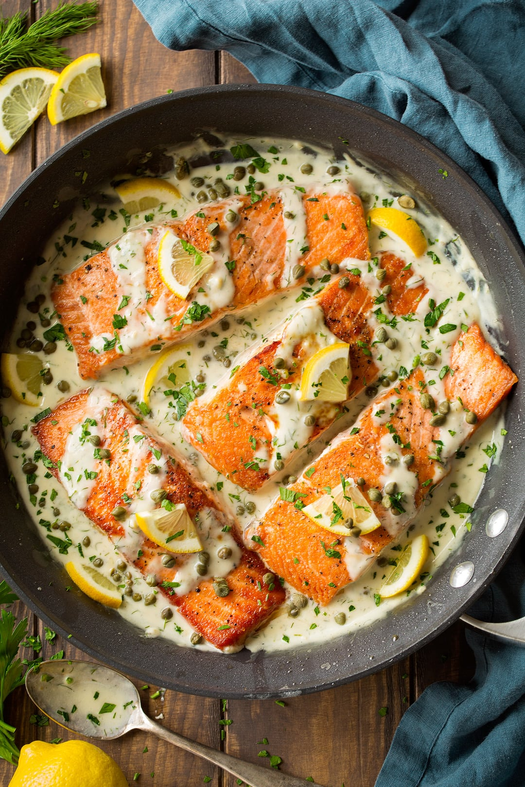 Salmon Piccata shown here in a 12-inch non-stick skillet after cooking.