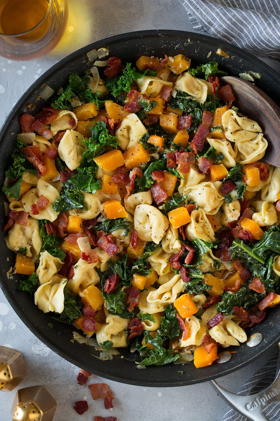 Tortellini with Butternut Squash Kale and Bacon