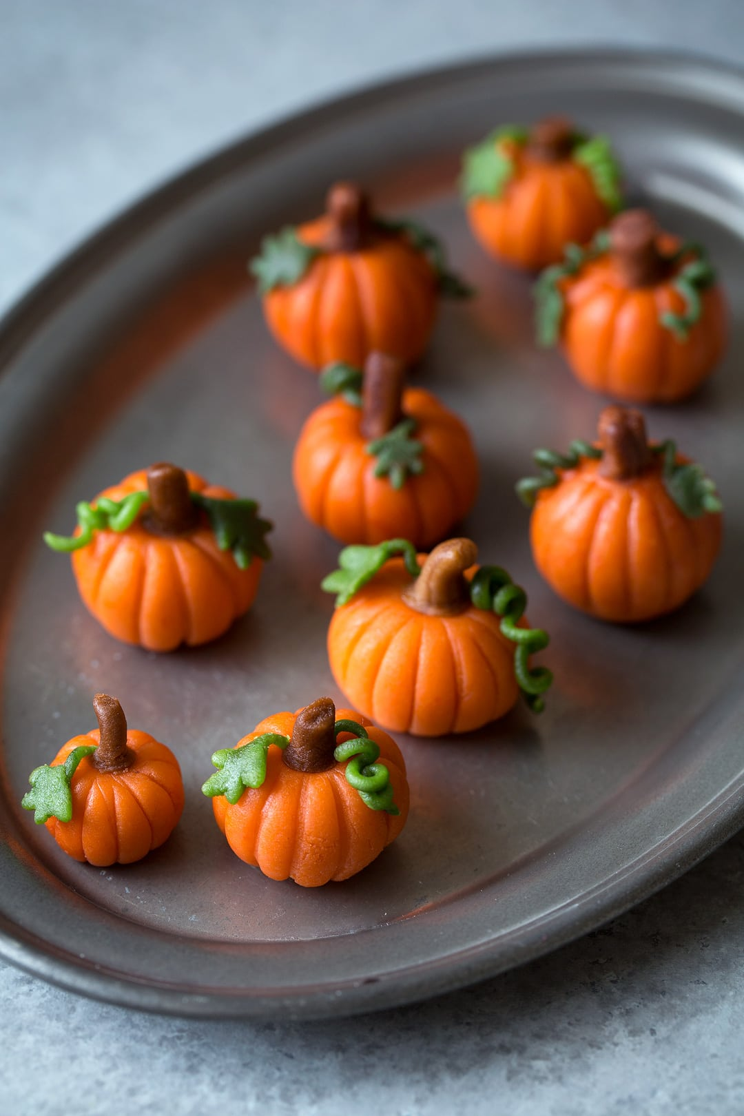 Mini marzipan pumpkins for pumpkin cupcakes.