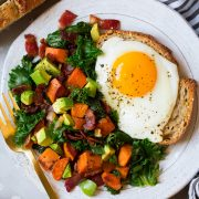 Sweet Potato Kale Bacon and Avocado Hash