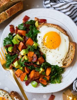 Sweet Potato Kale Bacon and Avocado Hash