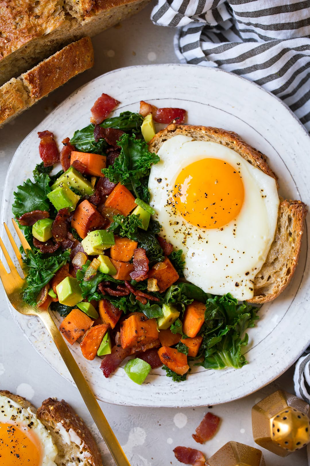 Sweet Potato Hash with Kale Bacon and Avocado