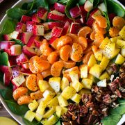 Apple Mandarin Pear and Feta Spinach Salad with Orange Poppy Seed Dressing
