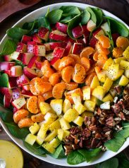 Apple Mandarin Pear and Feta Spinach Salad with Orange Poppy Seed Dressing