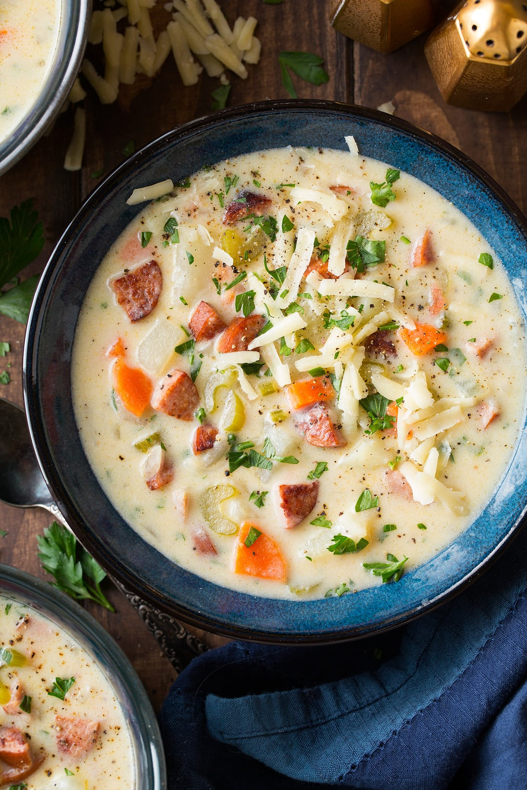 Creamy Potato Kielbasa and White Cheddar Soup