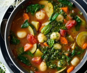 Gnocchi Vegetable Soup with Pesto and Parmesan