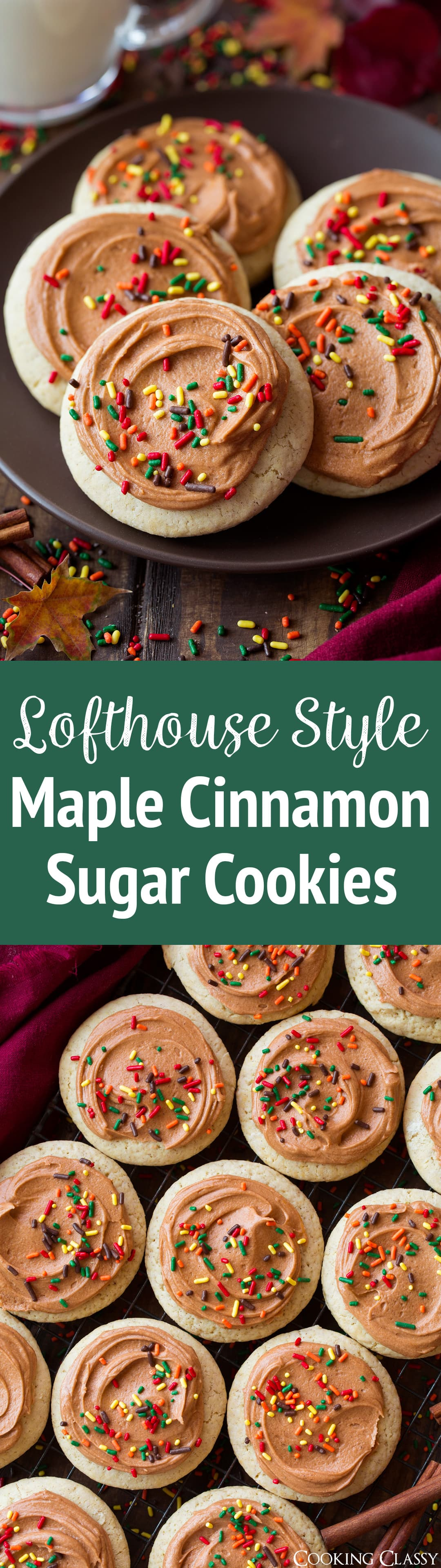 Soft Frosted Maple Cinnamon Sugar Cookies - these are melt-in-your-mouth insanely delicious! Love the texture and flavor of these cookies as did everyone else! #maplecinnamon #cookies #sugarcookies #lofthousecookies #fall #recipe