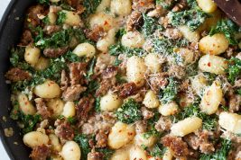 One Pan Creamy Gnocchi with Italian Sausage and Kale