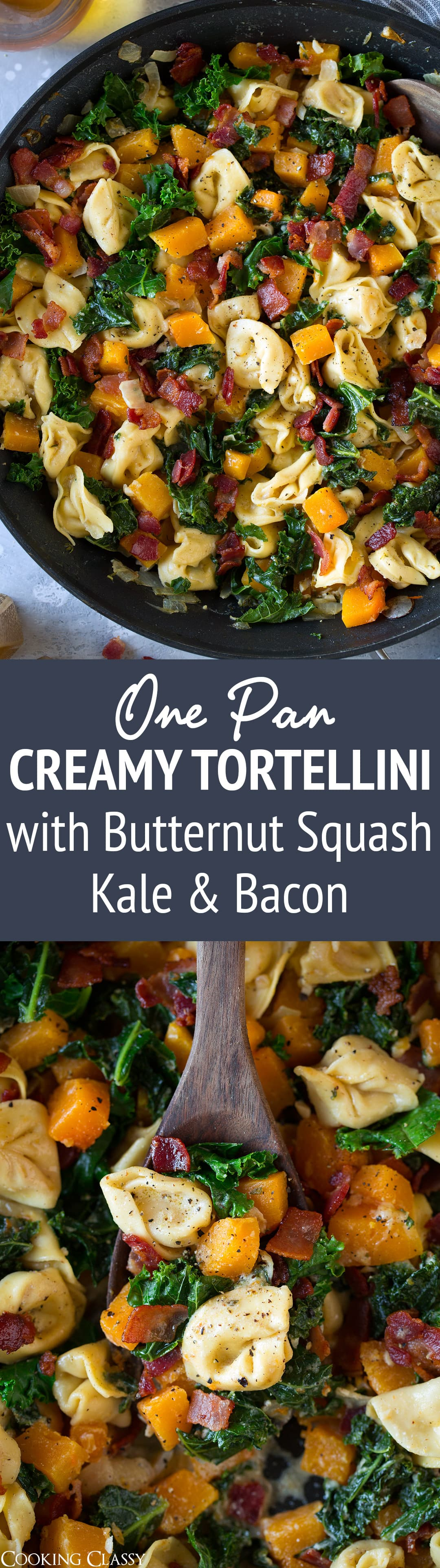 One Pan Creamy Tortellini with Butternut Squash Kale and Bacon - This is the perfect fall tortellini dinner! Deliciously creamy and cheesy with an amazing flavor combination. So hearty and so satisfying! #tortellini #butternutsquash #kale #bacon #skillet #recipe