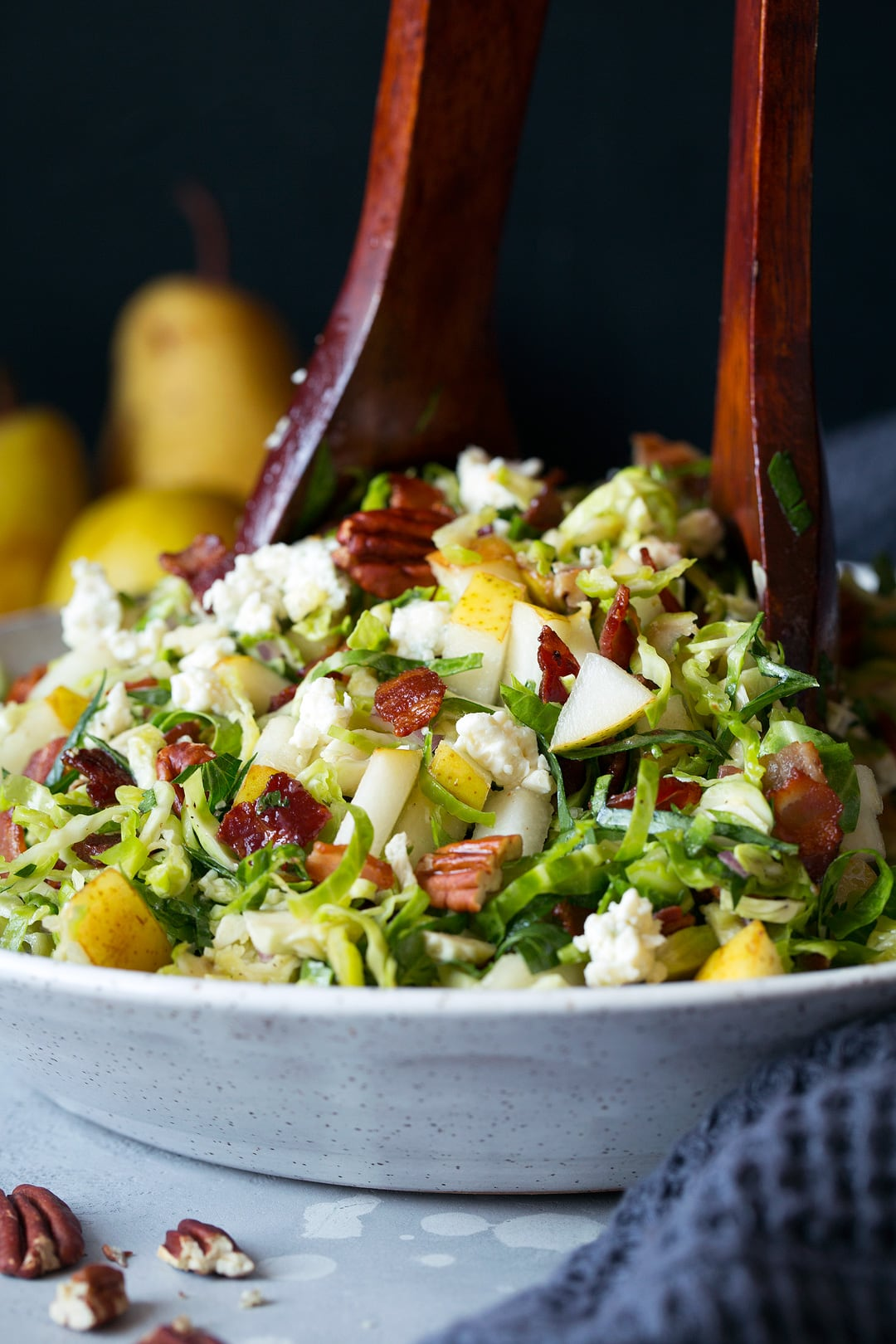 Pear Bacon and Brussels Sprout Salad